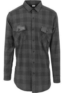 Urban Classics Hemd Side Zip Leather Shoulder Flanell Shirt Black/Cha-M