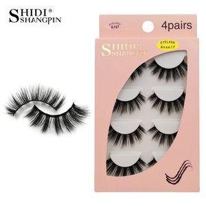 Anself 4 Paare 3D Fake Wimpern Falsche Wimpern für Augen Make-up Natürliche lange dicke Wimpern