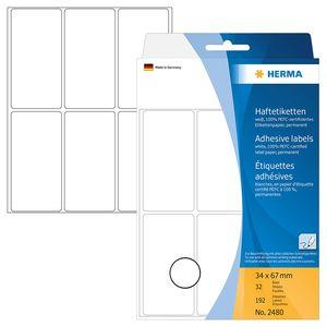 Vielzwecketiketten weiß 34x67 mm Papier matt 192 St.