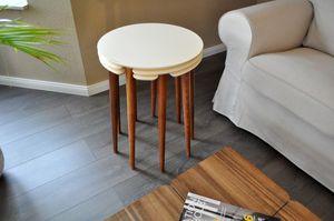 Dreisatztisch Beistelltisch Tisch  Carl Svensson LA-1cr Creme / Walnuss Nussbaum /