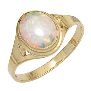 JOBO Damen Ring 333 Gold Gelbgold 1 Opal Goldring Größe 56