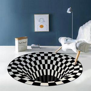 3d Round teppich optische täuschung 120x120cm 3D Space teppich Checkered Vortex Optische Täuschungen Rutschfester Teppich Anti-Rutsch-Bodenmatte Vlies Schwarz-Weiß-Fussmatte