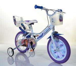 Frozen Kinderfahrrad 16 Zoll Eiskönigin Mädchenfahrrad | | Original Disney Lizenz | Kinderrad mit Stützrädern, Puppensitz und Fahrradkorb