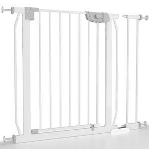 Froggy Türschutzgitter 85-93cm inkl. Verlängerung Absperrgitter Klemminstallation ohne Bohren Treppenschutz doppeltgesichertes Türschließsystem Metall