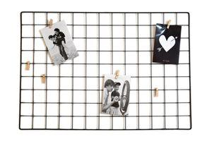 Metall Gitter Fotorahmen 65x45 cm mit 6 Holzklammern
