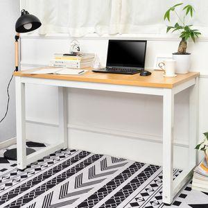 Merax Schreibtisch PC-Tisch Bürotisch Arbeitstisch Computertisch 120 x 60 x 75cm, Bürotisch Esstisch Arbeitstisch für Zuhause Büro Tisch Officetisch, Eiche-Weiß
