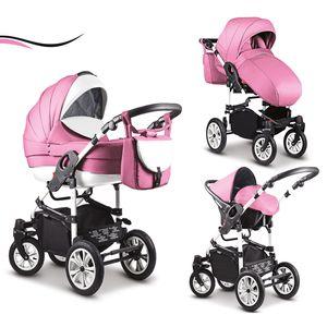 """16 teiliges Qualitäts-Kinderwagenset-Reisesystem 3 in 1 """"COSMO"""" in 41 Farben: Kinderwagen + Buggy + Autokindersitz + Schwenkräder - Mega-Ausstattung - all inclusive Paket in Farbe (C-41) PINK-WEISS"""