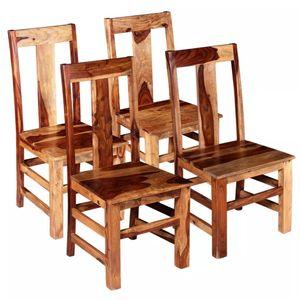 Esszimmerstühle 4-er SET | Wohnzimmerstuhl Küchenstuhl Sessel | Stuhl Küche Esszimmer Retro-Design Massivholz |8812