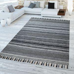 Wohnzimmer Teppich Streifen Design Fransen Naturfaser Gewebter Teppich Grau, Größe:160x220 cm