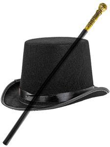 Fasching-Set Zylinder Hut mit Faschings-Gehstock Geh-Stock Zepter Königlicher Karneval Gehstock Halloween 75 cm