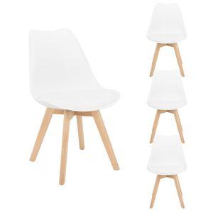 Futurefurniture.® 4er Set Esszimmerstühle mit Massivholz Buche Bein, Retro Design Gepolsterter Stuhl Küchenstuhl-Weiß