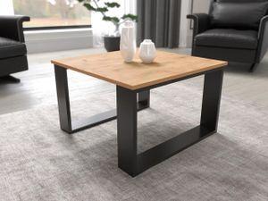 Mirjan24 Couchtisch Merc, Industrial Sofatisch, Wohnzimmertisch, Stilvoll Kaffeetisch, Modern Tisch (Farbe: Eiche Craft Gold / Schwarz)