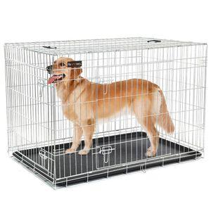 FEANDREA Hundekäfig | XXXL 122 x 81 x 76 cm | Hundebox faltbar 2 Türen | Drahtkäfig | Gitterbox | Transportbox silberfarben PPD48W
