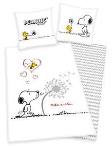 Peanuts Bettwäsche Snoopy 80x80 + 135x200 mit Reißverschluss