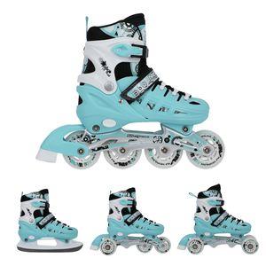 Rollschuhe Schlittschuhe Inline Skates Triskates VERSTELLBAR 4 IN 1 NILS NH10905 Türkis, größe 31-34