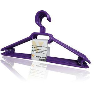 VERPACKING Kleiderbügel, rutschfeste und platzsparende Anzugbügel aus Kunststoff - Violett, 10 Stück
