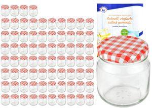 75er Set Rundglas 212 ml nieder To 66 rot karierter Deckel Marmeladengläser Glas incl. Rezeptheft