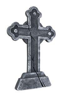 Boland festliche Dekoration Grabsteinkreuz 60 cm Polystyrol grau