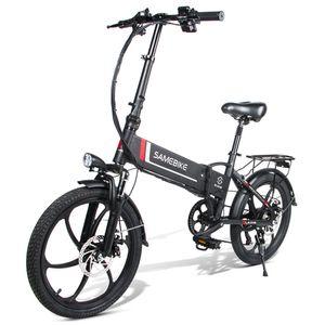 SAMEBIKE 20LVXD30 20 Zoll E-bike E-Trekkingrad Elektrofahrrad Elektrisches Fahrrad Electric Bike Elektrofahrräder Klappbar Motor Citybike Elektro City Fahrrad Elektrofahrrad mit LED Leucht Scheinwerfer 35km/h 350W 48V 10.4Ah Schwarz