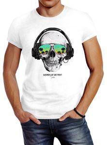 Herren T-Shirt Totenkopf Kopfhörer Musik Party Skull Sonnenbrille Schädel Sounds of Detroit Music Slim Fit Neverless® weiß L