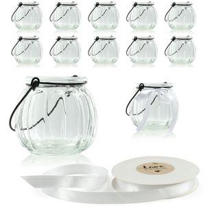 """WeddingTree Set 12 x Windlicht """"Barock"""" 7 cm hoch mit Bügel und Dekoband weiß - Teelichtglas"""
