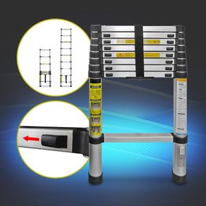 Teleskopleiter Klappleiter Teleskopleiter Stehleiter  Multifunktions-Klappleiter Aluminiumleiter mit Crossbar Handschuhe mit Handtasche 2m