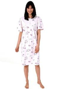 Frauliches Damen Nachthemd kurzarm mit Knopfleiste am Hals in floraler Optik - 112 90 193, Farbe:rosa, Größe:52-54