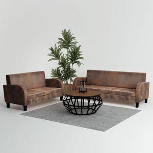 Sofagarnitur Couch Loungesofa Sofa-Set 2-tlg. Kunstleder in Wildleder-Optik Braun