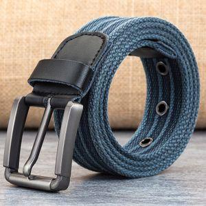 Man Leinwand Gürtel Striped mit Eisenschnalle Tactical Gürtel für Jeans 110cm-160cm -(Hellblau,140CM)