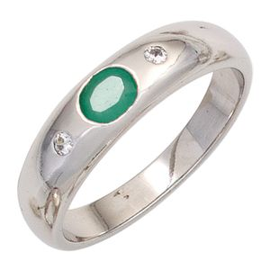 JOBO Damen Ring 925 Sterling Silber rhodiniert 1 Smaragd grün 2 Zirkonia Silberring Größe 52