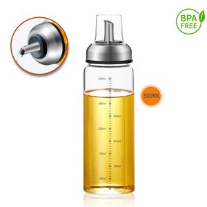 Ölspender Essigspender Tropffrei mit Skala Deckel Ölflasche Essigflasche Glas 1x 500ml