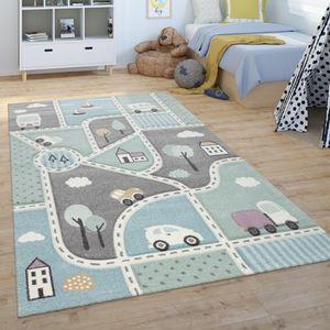 Kinder-Teppich, Spiel-Teppich Für Kinderzimmer, Mit Straßen-Motiv, Grün Blau, Grösse:120x170 cm