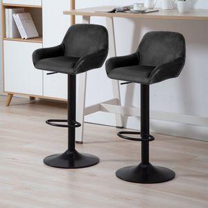 2er-Set Barhocker aus Samt - Barstuhl Tresenhocker Küchenstühle Höhenverstellbar -Schwarz