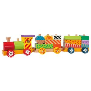 Eichhorn 100002223 - Color Holzzug, 18-teilig, Zug mit 15 Bausteinen, aus Holz 4003046022230