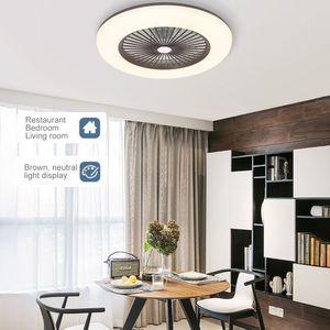 Smart Deckenventilator mit Beleuchtung 180V-265V LED-Leuchte mit APP-Handysteuerung(Braun)