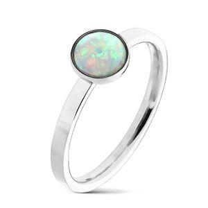 Ring mit Opal silber aus Edelstahl, Ringgrösse:60 (19.1 mm Ø)