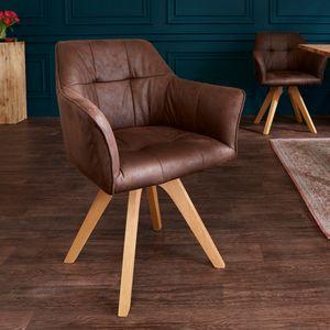Drehbarer Design Stuhl LOFT antik braun Buchenholz Beine mit Armlehnen
