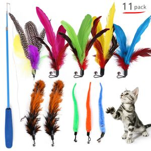 Cat Feather Rod Interaktiver Feather Teaser Einziehbarer Cat Wand 11 PCS