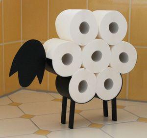 DanDiBo Toilettenpapierhalter Schwarz Metall Schaf WC Rollenhalter Freistehend WC Papierhalter ToilettenrollenhalterLustig