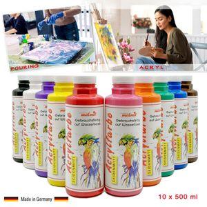 Acrylfarben 10er Set je 500 ml Künstlerfarben Acryl Malfarben Seidenmatt Pouring