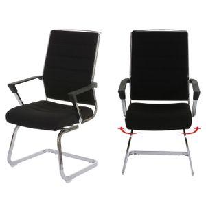 2x Konferenzstuhl Salamanca, Besucherstuhl Freischwinger, drehbar  Textil schwarz