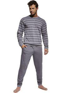 Limitierter zweiteiliger Herren Pyjama - Schlafanzug - in Hell- und Dunkelgrau - Langarm - 92% Baumwolle - Größe L