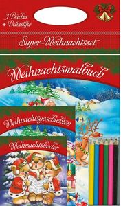Super Weihnachtset-3er Set Malbuch mit Stiften, Weihnachtslieder, Weihnachtsgeschichten