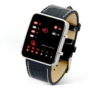 Digitale rote LED Sport Armbanduhr Binäre Armbanduhr Kunstleder Damen Herren XYQ4063004A