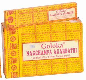 Goloka Nag Champa Masala Räucherstäbchen gelb Räucherwerk 16g Duftstäbchen