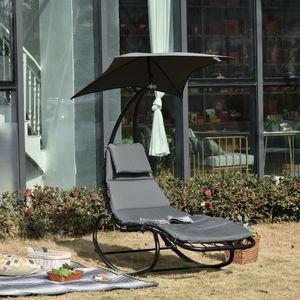 Outsunny Schaukelliege Schaukelstuhl Relaxliege mit Dach Garten Balkon Büro Dunkelgrau 185 x 100 x 190 cm
