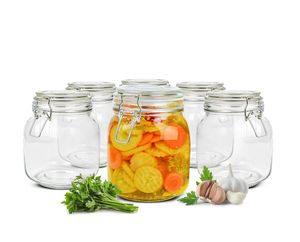 Einmachglas 1000ml Bügelverschluss Einmachgläser Vorratsglas Vorratsdose 2-12Stk(6 Stück)