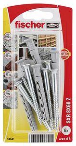 Fischer 94641, Schrauben- und Ankersatz, Mauerziegel, Nylon, Pozidriv, PZ3, 8 mm