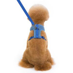 Haustierwestengeschirr Atmungsaktiv Weiches Gepolstert Einstiegsweste Geschirr Leash Set Fš¹r Haustier Hund Katze Outdoor Training, Gr??e M Blau
