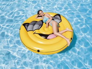 INTEX™ Badeinsel Smiley Luftmatratze Schwimminsel Pool Aufblasbar Gelb 57254 RTG